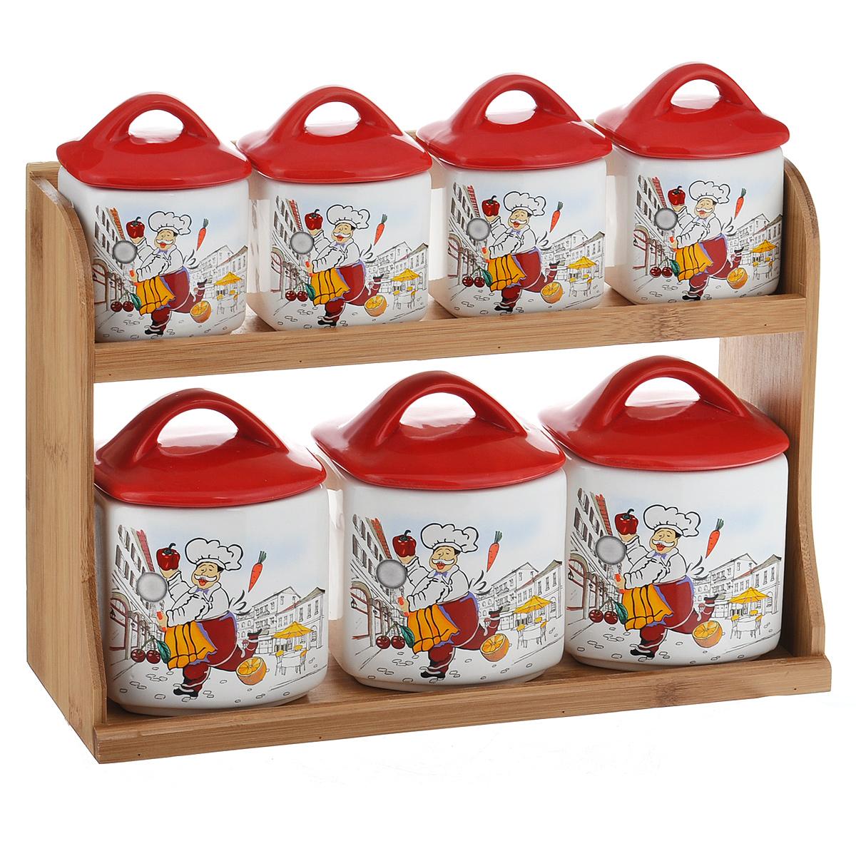 Набор банок для хранения сыпучих продуктов Веселый повар, цвет: красный, белый, 8 предметовDFC00574-02226 W 7/SНабор Веселый повар состоит из трех больших банок, четырех маленьких банок и подставки. Предметы набора изготовлены из доломитовой керамики и декорированы изображением повара. Изделия помещаются на удобную деревянную подставку. Оригинальный дизайн, эстетичность и функциональность набора позволят ему стать достойным дополнением к кухонному инвентарю.Можно мыть в посудомоечной машине на минимальной температуре.Размер основания большой емкости: 8,5 х 9,5 см.Высота большой емкости (без учета крышки): 9 см.Размер основания маленькой емкости: 7 см х 6 см.Высота маленькой емкости (без учета крышки): 6,5 см.Размер подставки: 33 см х 10,5 см х 22 см.