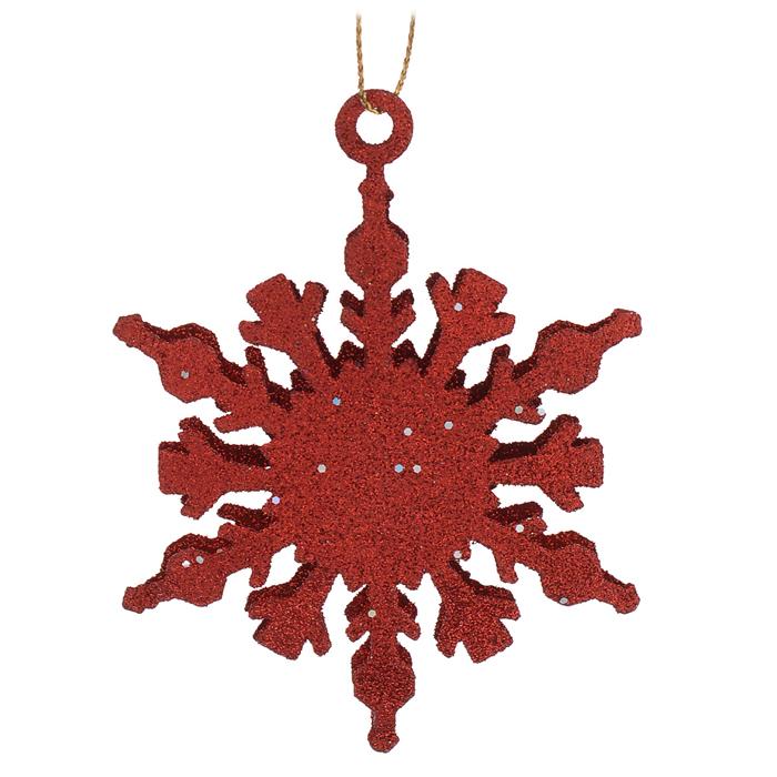Новогоднее подвесное украшение Снежинка, цвет: красный. Ф21-1645Ф21-1645Новогоднее украшение Снежинка отлично подойдет для декорации вашего дома и новогодней ели. Украшение выполнено из металла в виде снежинки и украшено блестками. Елочная игрушка - символ Нового года. Она несет в себе волшебство и красоту праздника. Создайте в своем доме атмосферу веселья и радости, украшая всей семьей новогоднюю елку нарядными игрушками, которые будут из года в год накапливать теплоту воспоминаний.