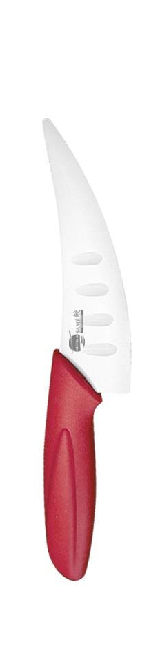 Нож для сыра и пиццы Supra Same, керамический, цвет: красный, длина лезвия 10,8 смSK-KS10Ch redНож керамический Supra изготовлен из высококачественной циркониевой керамики (диоксида циркония). Кристаллическая структура не требует заточки. Керамический нож не оставляет послевкусия, не вступает с продуктами в химическую реакцию и не придает продуктам металлический привкус. Рукоятка изготовлена из ABS-пластика с внешним покрытием SOFT TOUCH (силикон), что предотвращает выскальзывание ножа из рук. К ножу не прилипают продукты. Керамический нож Supra легок в уходе и удобен в использовании. Керамический нож идеально подходят для нарезания сыра и пиццы. Керамический нож Supra будет незаменимым помощником на вашей кухне. Длина ножа: 20,5 см. Длина лезвия: 10,8 см.Ширина лезвия: 3 см.