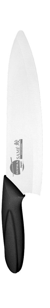 Нож универсальный Supra Same, керамический, цвет: черный, длина лезвия 18 смSK-KS18C blackНож керамический Supra изготовлен из высококачественной циркониевой керамики (диоксида циркония). Кристаллическая структура не требует заточки. Керамический нож не оставляет послевкусия, не вступает с продуктами в химическую реакцию и не придает продуктам металлический привкус. Рукоятка изготовлена из ABS-пластика с внешним покрытием SOFT TOUCH (силикон), что предотвращает выскальзывание ножа из рук. К ножу не прилипают продукты. Керамический нож Supra легок в уходе и удобен в использовании. Керамический нож идеально подходят для нарезания мягких, сочных продуктов, спелых томатов, фруктов, мяса и т.д.Керамический нож Supra будет незаменимым помощником на вашей кухне. Длина ножа: 29,5 см. Ширина лезвия: 0,1 см. Длина лезвия: 18 см.