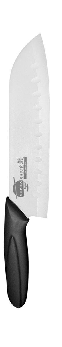 Нож сантоку Supra Same, керамический, цвет: черный, длина лезвия 18 смSK-KS18St blackНож Supra Same изготовлен из высококачественной циркониевой керамики (диоксида циркония). Кристаллическая структура не требует заточки. Керамический нож не оставляет послевкусия, не вступает с продуктами в химическую реакцию и не придает продуктам металлический привкус. Рукоятка изготовлена из ABS-пластика с внешним покрытием SOFT TOUCH (силикон), что предотвращает выскальзывание ножа из рук. К ножу не прилипают продукты. Нож легок в уходе и удобен в использовании. Этот нож идеально шинкует, нарезает и измельчает продукты. Его острие опущено вниз, центр тяжести смещен вперед, что позволяет прикладывать меньше усилий при работе ножом. Выемки по краю лезвия предотвращают прилипание продуктов. Керамический нож Supra Same будет незаменимым помощником на вашей кухне. Длина ножа: 30 см. Длина лезвия: 18 см. Ширина лезвия: 4,5 см.