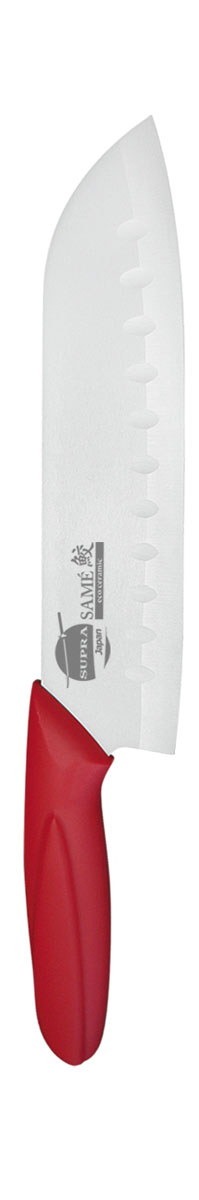 Нож сантоку Supra Same, керамический, цвет: красный, длина лезвия 18 смSK-KS18St redНож керамический Supra Santoku изготовлен из высококачественной циркониевой керамики (диоксида циркония). Кристаллическая структура не требует заточки. Керамический нож не оставляет послевкусия, не вступает с продуктами в химическую реакцию и не придает продуктам металлический привкус. Рукоятка изготовлена из ABS-пластика с внешним покрытием SOFT TOUCH (силикон), что предотвращает выскальзывание ножа из рук. К ножу не прилипают продукты. Керамический нож Supra Santoku легок в уходе и удобен в использовании. Керамический нож идеально подходят для нарезания мягких, сочных продуктов, спелых томатов, фруктов, мяса и т.д.Керамический нож Supra Santoku будет незаменимым помощником на вашей кухне. Длина ножа: 30 см. Толщина лезвия: 0,1 см. Длина лезвия: 18 см. Ширина лезвия: 4,5 см.