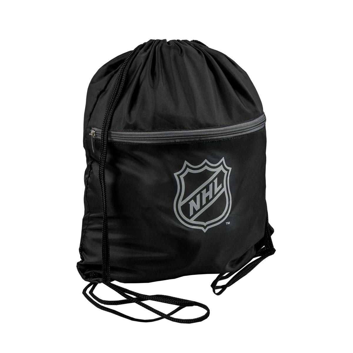 Мешок на шнурке NHL, цвет: черный, 15 л58019Мешок на шнурке NHL выполнен из 100% полиэстера. Он выполняет функции рюкзака, благодаря плечевым лямкам, которые надежно фиксируют изделие у его верхнего основания. Мешок имеет 2 отделения, одно из которых закрывается на молнию. Украшен эмблемой хоккейной команды NHL.