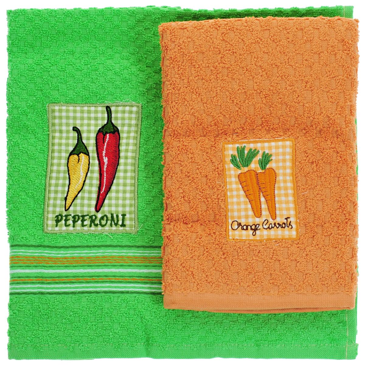 Набор махровых полотенец Bonita Перец. Морковь, 40 см х 60 см, 2 шт20100313373перец/морковьНабор полотенец Bonita Перец. Морковь, изготовленный из натурального хлопка, идеально дополнитинтерьер вашей кухни и создаст атмосферу уюта и комфорта. В набор входят два махровых полотенца.Полотенца оформлены вышивкой в виде перца и морковки. Изделия выполнены из натурального материала, поэтому являются экологически чистыми. Высочайшее качествоматериала гарантирует безопасность не только взрослых, но и самых маленьких членов семьи.Современный декоративный текстиль для дома должен быть экологически чистым продуктом и отличаться ярким исовременным дизайном.Кухня, столовая, гостиная - то место в доме, где хочется собраться всем вместе, ощутить радость и уют. И немалаядоля этого уюта зависит от подобранных под вашу мебель, и что уж говорить, под ваше настроение - полотенец,скатертей, салфеток и прочих милых мелочей. Bonita предлагает коллекции готовых стилистических решений дляразличной кухонной мебели, множество видов, рисунков и цветов. Вам легко будет создать нужную атмосферу накухне и в столовой с товарами Bonita.