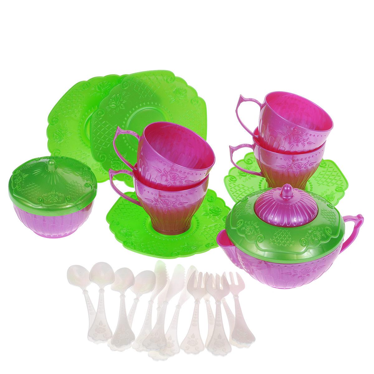 """Набор детской посуды """"Чайный сервиз """"Волшебная Хозяюшка"""", 22 предмета, цвет: розовый, зеленый, Нордпласт"""