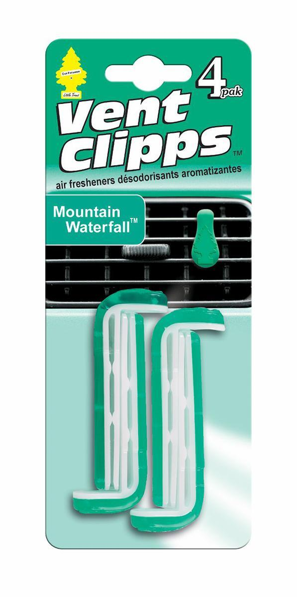 Ароматизатор Car-Freshner Vent Clipps аромат Mountain Waterfall (Горный водопад)U1P-17750Car-Freshner Vent Clipps устанавливается в дефлектор вентиляции автомобиля. Уникален по эффективности действия, насыщенности и стойкости запаха. В упаковке 4 штуки. 100% спресованная целлюлоза, не токсичные отдушки