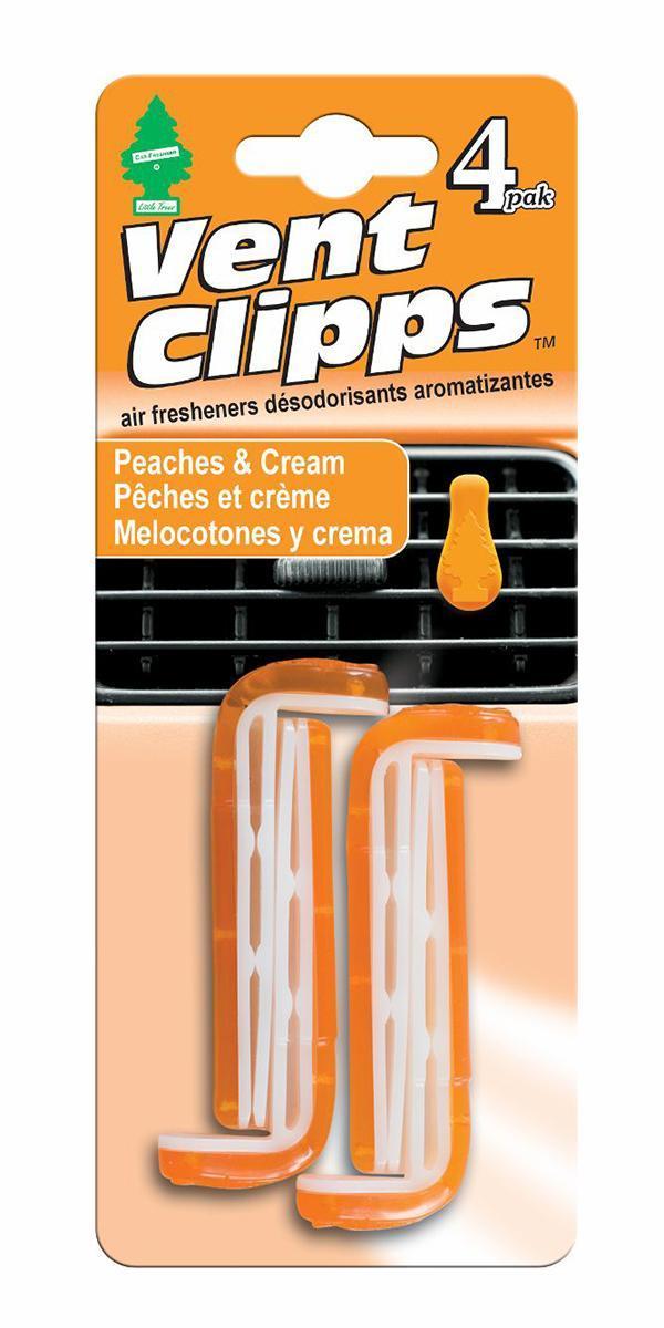Ароматизатор Car-Freshner Vent Clipps аромат Peaches & Cream (Персики со сливками)U1P-17719Car-Freshner Vent Clipps устанавливается в дефлектор вентиляции автомобиля. Уникален по эффективности действия, насыщенности и стойкости запаха. В упаковке 4 штуки.