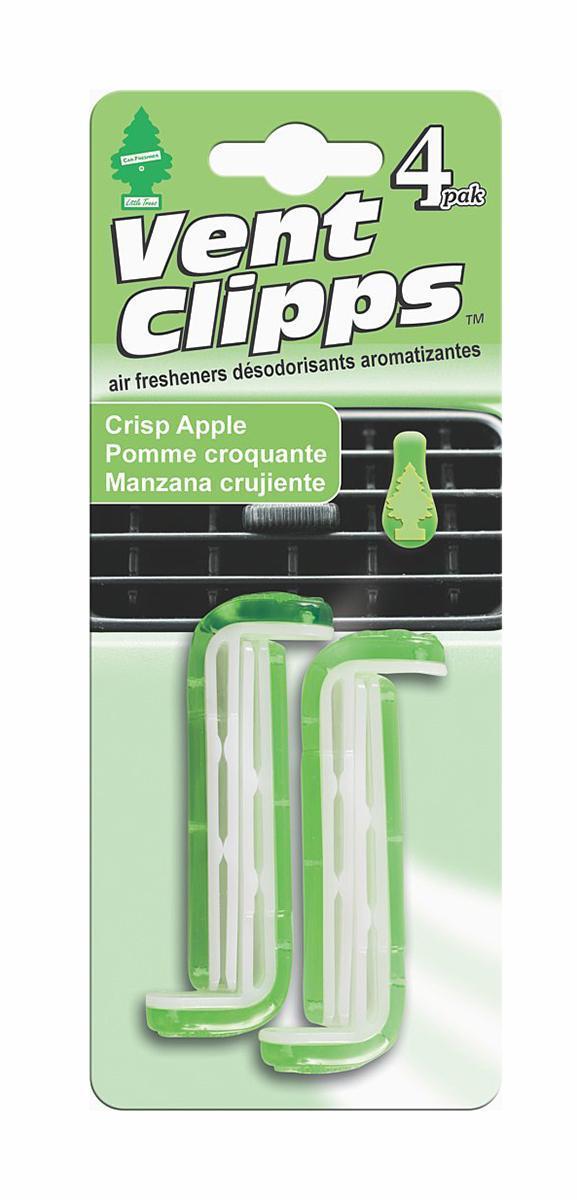 Ароматизатор Car-Freshner Vent Clipps аромат Crisp Apple (Хрустящее яблоко)U1P-17716Car-Freshner Vent Clipps устанавливается в дефлектор вентиляции автомобиля. Уникален по эффективности действия, насыщенности и стойкости запаха. В упаковке 4 штуки.
