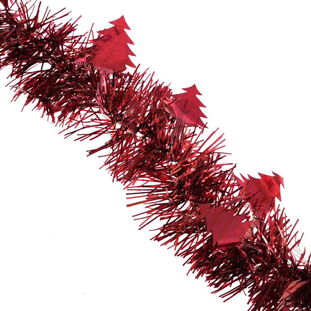 Мишура новогодняя Sima-land, цвет: красный, диаметр 8 см, длина 2 м. 702595 мишура новогодняя sima land цвет золотистый красный диаметр 7 см длина 2 м 279377