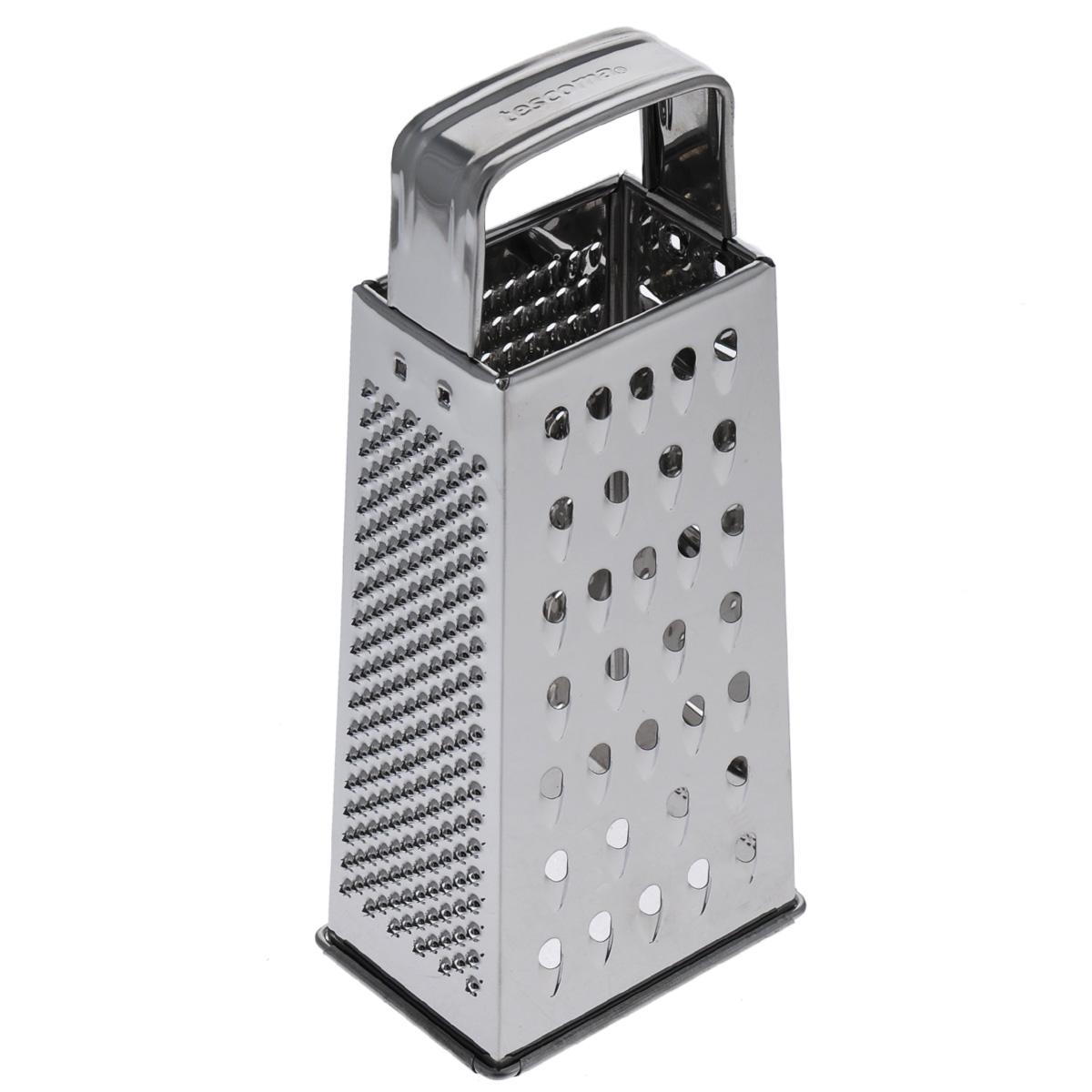 Терка четырехгранная Tescoma Handy643740Четырехгранная терка Tescoma Handy, выполненная из высококачественной нержавеющей стали с зеркальной полировкой, станет незаменимым атрибутом приготовления пищи. Сверху на терке находится удобная ручка. На одном изделие представлены четыре вида терок - крупная, мелкая, фигурная и нарезка ломтиками. Современный стильный дизайн позволит терке занять достойное место на вашей кухне.Можно мыть в посудомоечной машине.