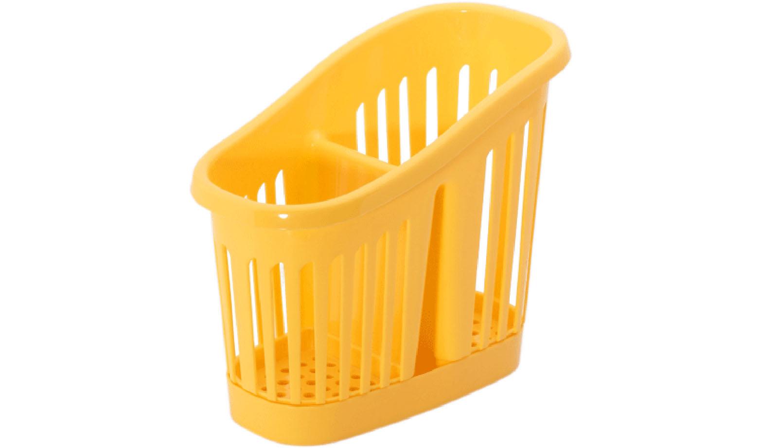 Подставка для столовых приборов Idea, цвет: желтый. М 1165М 1165Подставка для столовых приборов Idea, выполненная из высококачественного пластика, станет полезным приобретением для вашей кухни. Подставка имеет два отделения для разных видов столовых приборов. Дно и стенки отделений имеет перфорацию для легкого стока жидкости, которую собирает поднос. Такая подставка поможет аккуратно рассортировать все столовые приборы и тем самым поддерживать порядок на кухне.