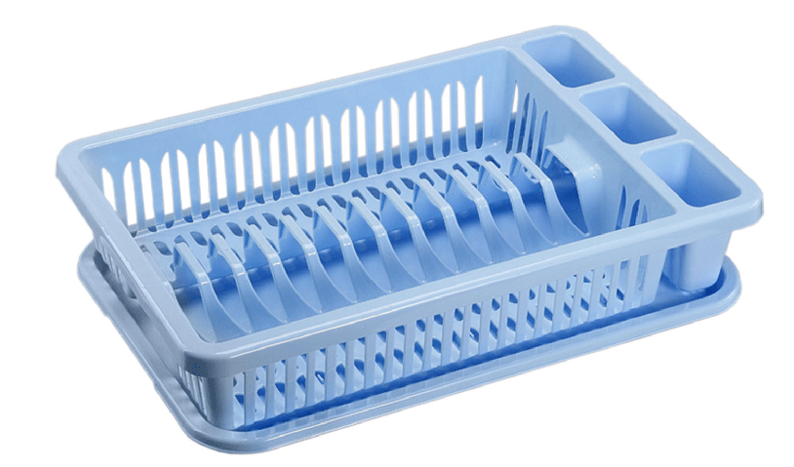 Сушилка для посуды Idea, с поддоном, цвет: голубой, 43 х 28 х 9 смМ 1174Сушилка Idea, выполненная из прочного пластика, представляет собой решетку с ячейками, в которые помещается посуда: тарелки, кружки, ложки, ножи. Изделие оснащено пластиковым поддоном для стекания воды. Сушилку можно установить в любом удобном месте. На ней можно разместить большое количество предметов. Вместительные размеры и оригинальный дизайн выделяют эту сушку из ряда подобных.Размер сушилки: 43 х 28 х 9 см. Размер поддона: 42 х 28 х 1,8 см.
