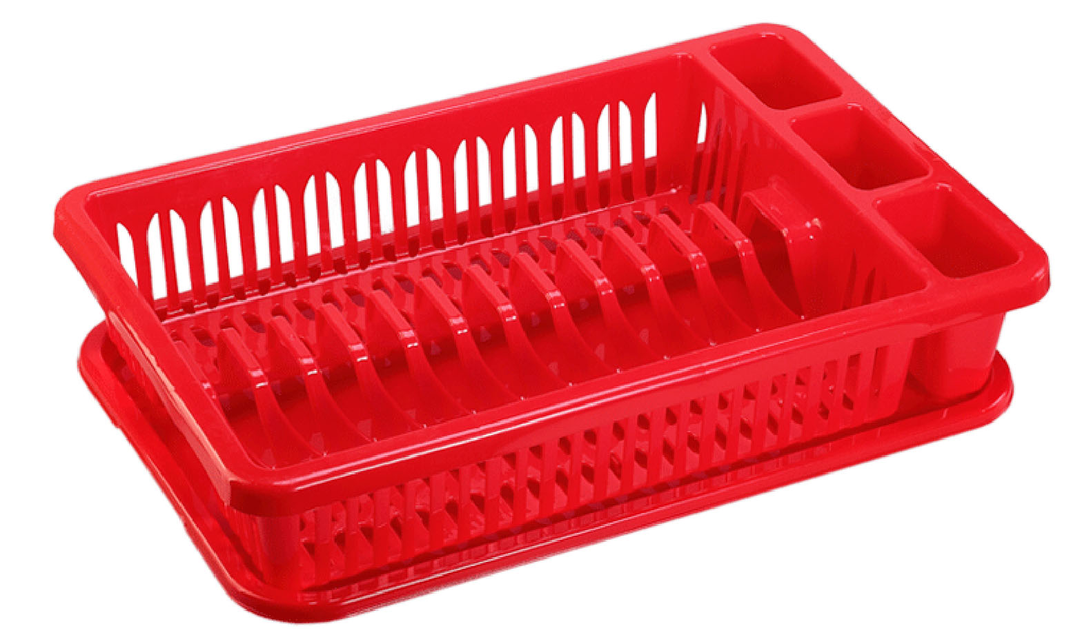 Сушилка для посуды Idea, с поддоном, цвет: красный, 43 х 28 х 9 смМ 1174Сушилка Idea, выполненная из прочного пластика, представляет собой решетку с ячейками, в которые помещается посуда: тарелки, кружки, ложки, ножи. Изделие оснащено пластиковым поддоном для стекания воды. Сушилку можно установить в любом удобном месте. На ней можно разместить большое количество предметов. Вместительные размеры и оригинальный дизайн выделяют эту сушку из ряда подобных.Размер сушилки: 43 х 28 х 9 см. Размер поддона: 42 х 28 х 1,8 см.