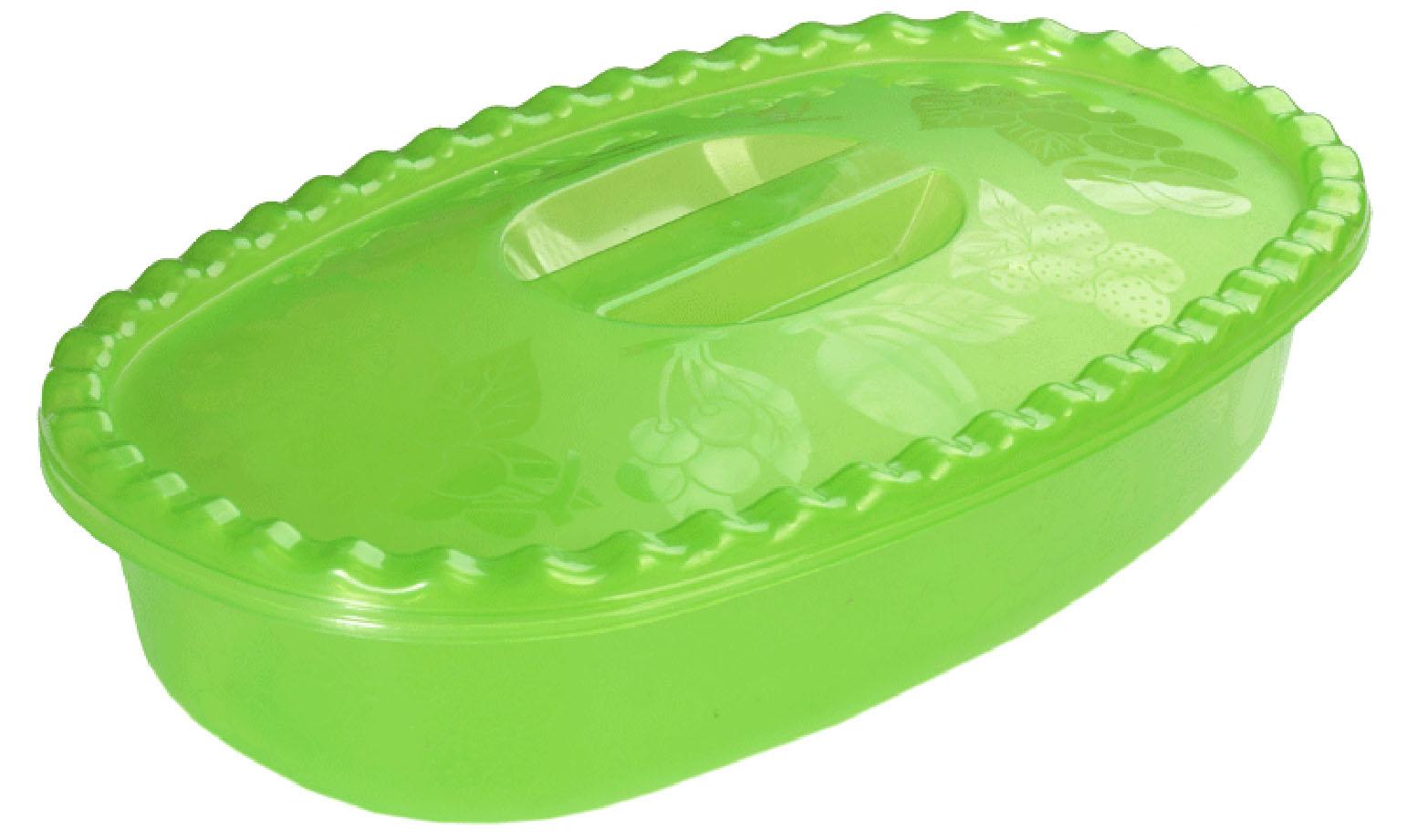 Миска Idea, с крышкой, цвет: салатовый, 2,7 л миска moderna smarty bowl с антискольжением цвет бордовый 19 х 7 см