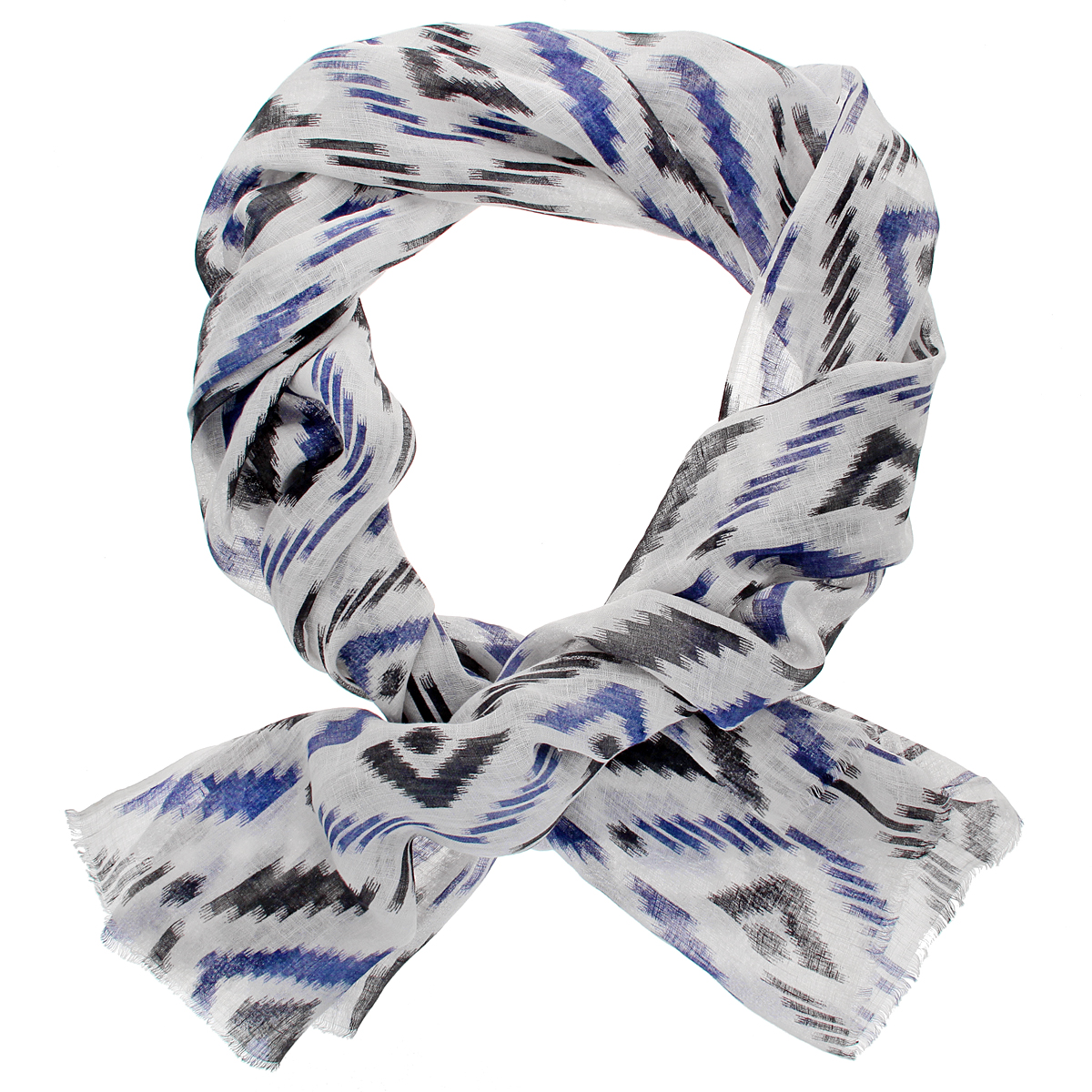 Палантин Ethnica, цвет: белый, синий, темно-серый. 001450s. Размер 70 см х 200 см