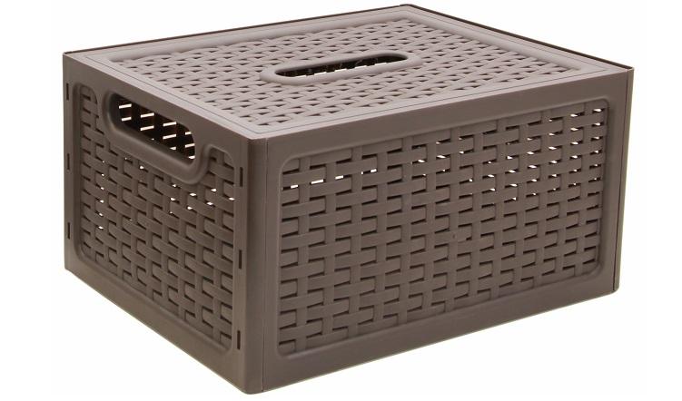 Ящик универсальный Idea Ротанг, с крышкой, цвет: коричневый, 37 х 28 х 19 см idea ящик для игрушек моби цвет бирюзовый 41 5 х 60 х 32 см