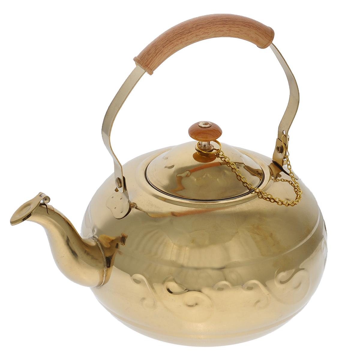 Чайник Bekker, с ситечком, цвет: золотистый, 1,8 лBK-S495Чайник Bekker выполнен из высококачественной нержавеющей стали, что обеспечивает долговечность использования. Рельеф и зеркальное покрытие придает чайнику приятный внешний вид. Бакелитовая ручка декорирована под дерево и делает использование чайника очень удобным и безопасным. Чайник снабжен ситечком для заваривания. Можно мыть в посудомоечной машине. Пригоден для всех видов плит, включая индукционные.