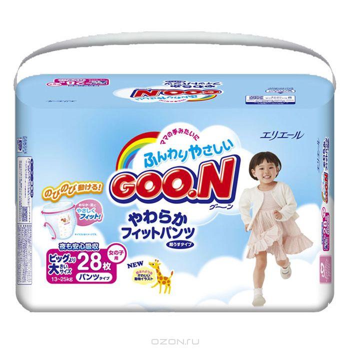 GOON Подгузники-трусики для девочек 13-25 кг, 28 шт, Daio Paper Corporation