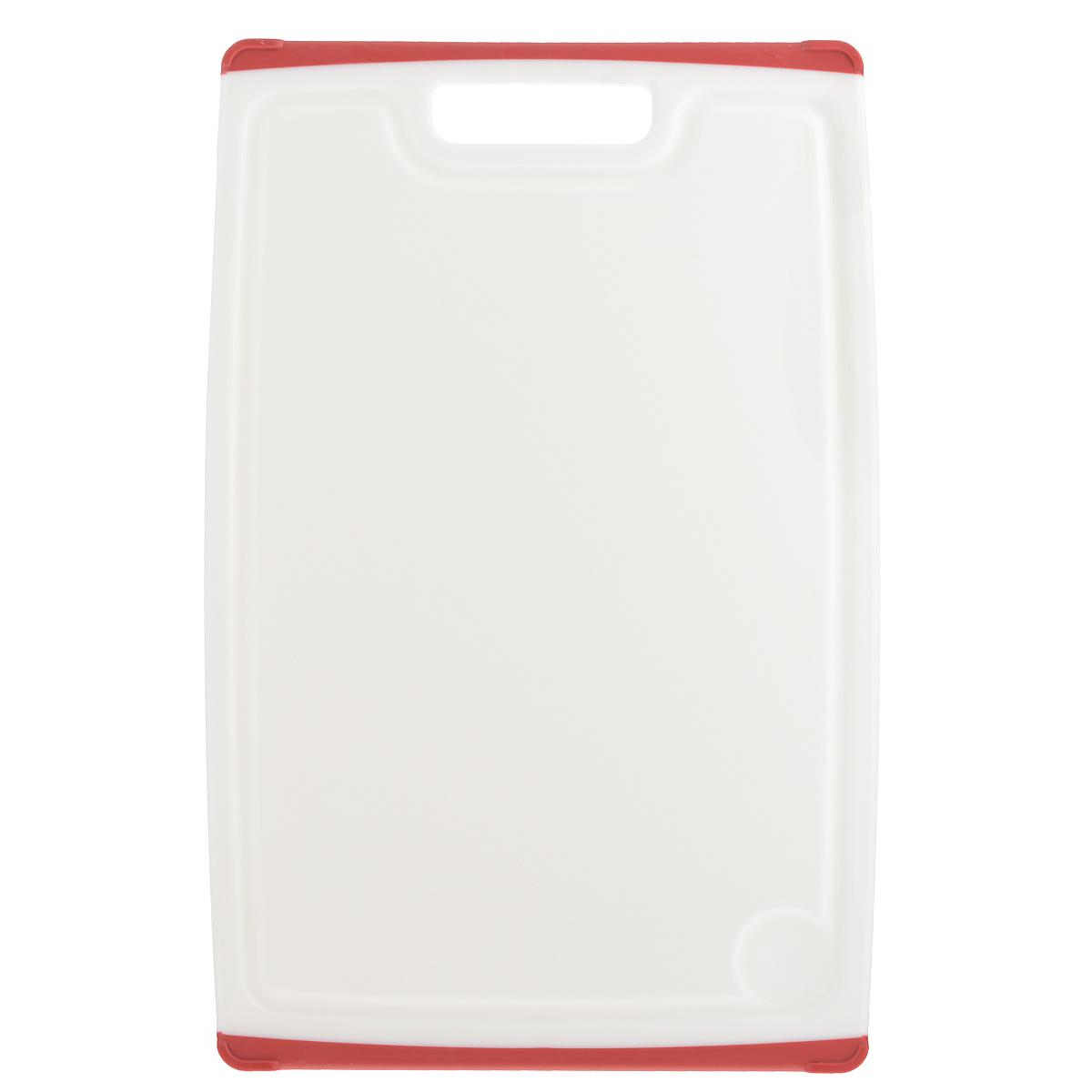 Доска разделочная Tescoma Cosmo, цвет: красный, 40 см х 26 см379216Разделочная доска Tescoma Cosmo, изготовленная из высококачественного прочного пластика, станет незаменимым атрибутом приготовления пищи. Она идеально подходит для разделки мяса, рыбы, приготовления теста и нарезки любых продуктов. А особый дизайн краев с желобком способствует задерживанию жидкостей и остатков продуктов. Изделие оснащено прорезиненными цветными вставками с двух сторон для предотвращения скольжения по столу. Доска предназначена дляежедневного интенсивного использования. Не затупляет лезвия.Современный стильный дизайн и функциональность разделочной доски Tescoma Cosmo, позволит занять ей достойное место на вашей кухне.Можно мыть в посудомоечной машине.