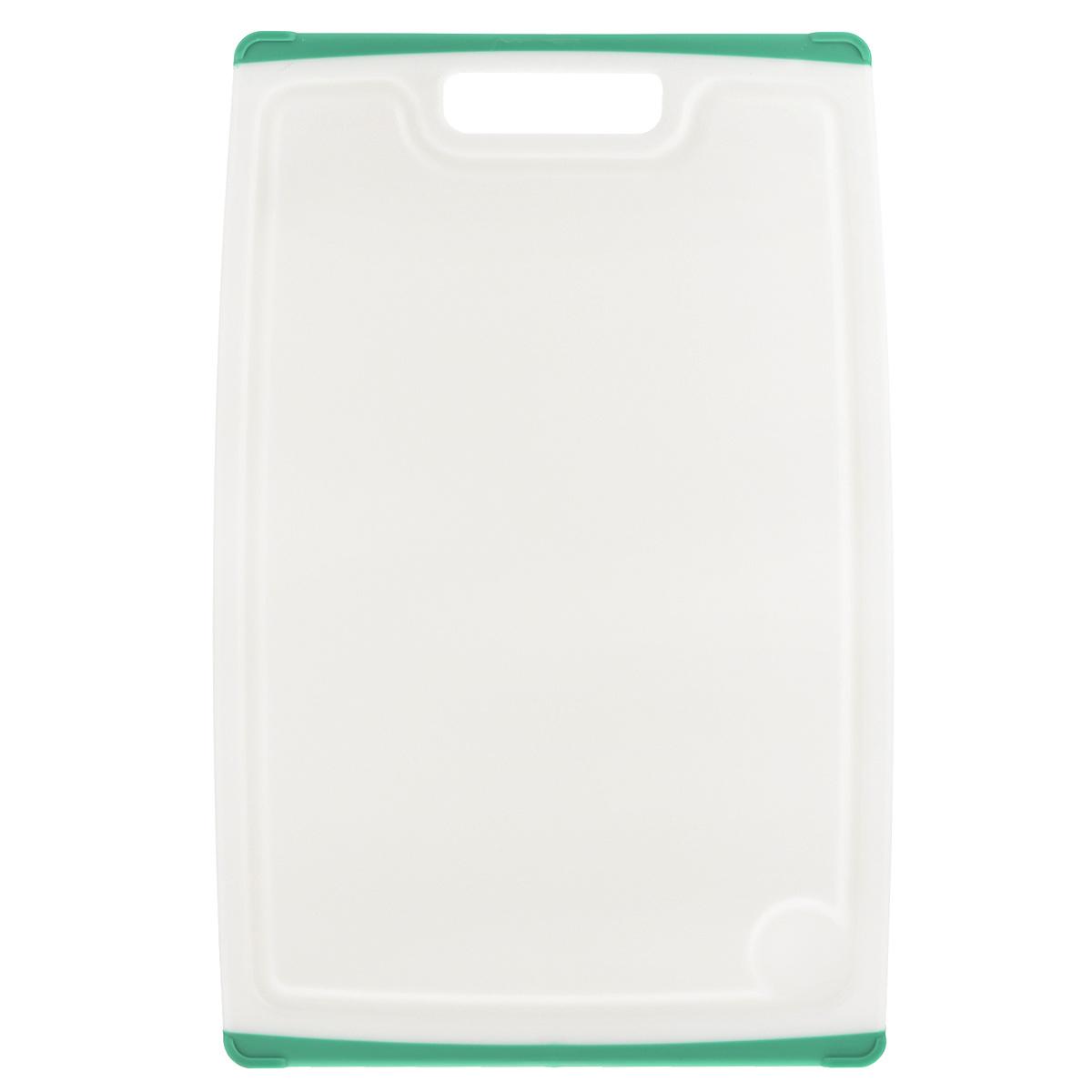 Доска разделочная Tescoma Cosmo, цвет: зеленый, 30 см х 20 см379212Разделочная доска Tescoma Cosmo, изготовленная из высококачественного прочного пластика, станет незаменимым атрибутом приготовления пищи. Она идеально подходит для разделки мяса, рыбы, приготовления теста и нарезки любых продуктов. А особый дизайн краев с желобком способствует задерживанию жидкостей и остатков продуктов. Изделие оснащено прорезиненными цветными вставками с двух сторон для предотвращения скольжения по столу. Доска предназначена дляежедневного интенсивного использования. Не затупляет лезвия.Современный стильный дизайн и функциональность разделочной доски Tescoma Cosmo, позволит занять ей достойное место на вашей кухне.Можно мыть в посудомоечной машине.