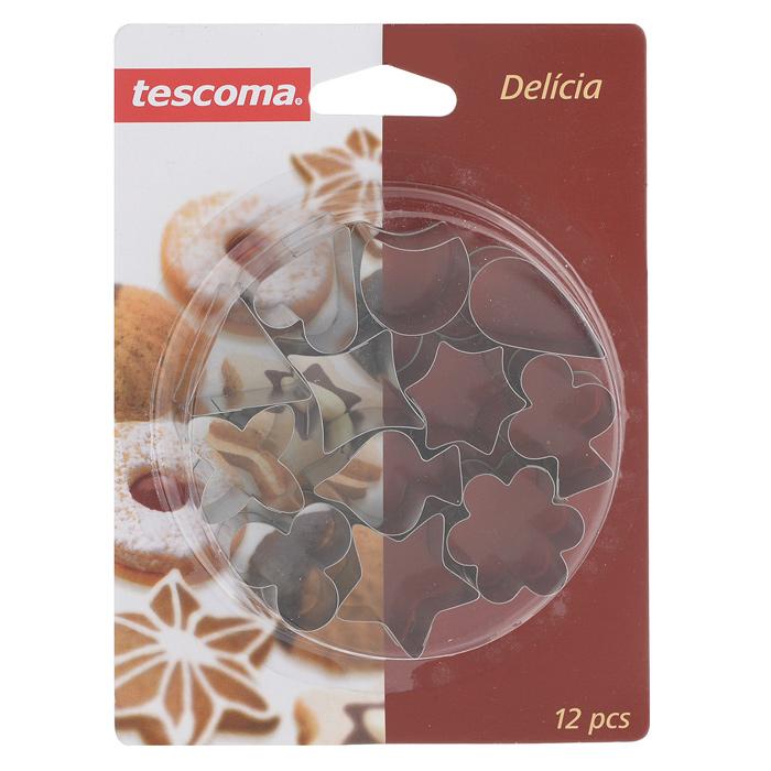 Набор форм для выпечки Tescoma Delicia, 12 предметов631320Набор Tescoma Delicia состоит из 12 форм для выпечки, которые выполнены из прочного металла. Формочки имеют вид капелек, звездочек, цветов и др. Оригинальная форма позволит приготовить выпечку по вашему любимому рецепту, но в оригинальном оформлении, которое придется по душе всей семье. Не мыть в посудомоечной машине.