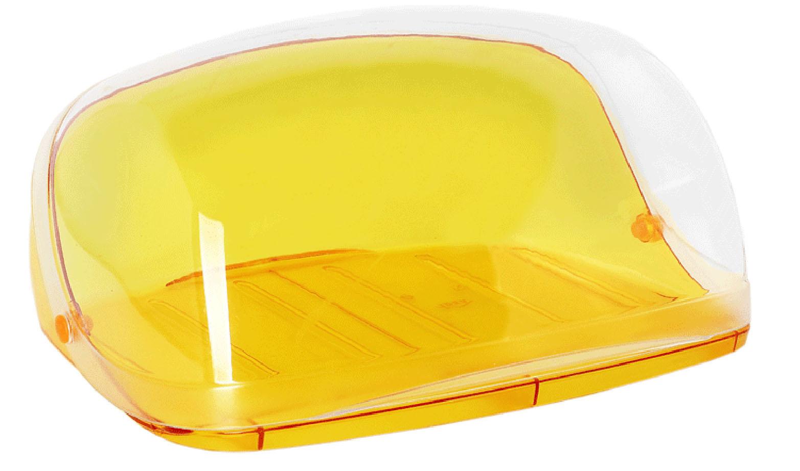 Хлебница Idea Кристалл, цвет: оранжевый, прозрачный, 29 х 25 х 15 смМ 1185Хлебница Idea Кристалл, изготовленная из пищевого пластика, обеспечивает идеальные условия хранения для различных видов хлебобулочных изделий, надолго сохраняя их свежесть. Изделие оснащено плотно закрывающейся крышкой, защищающей продукты от воздействия внешних факторов (запахов и влаги).Вместительность, функциональность и стильный дизайн позволят хлебнице стать не только незаменимым аксессуаром на кухне, но и предметом украшения интерьера. В ней хлеб всегда останется свежим и вкусным.