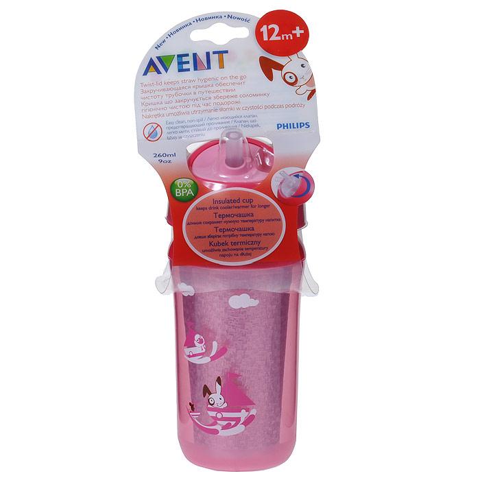 Philips Avent Термо-чашка непроливайка 260 мл с трубочкой SCF766/00 розовый чашка с трубочкой philips avent scf762 00 с 18 мес 340 мл в ассортименте