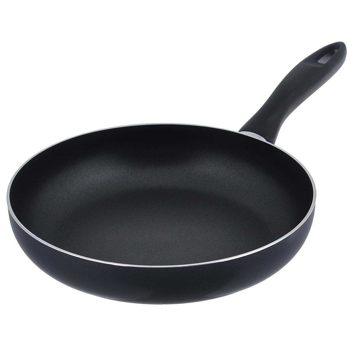 """Сковорода Tescoma """"Presto"""" выполнена из алюминия с антипригарным покрытием. Оптимальное соотношение толщины дна и стенок, а также хорошие теплопроводные свойства алюминия гарантируют равномерное нагревание  посуды и, как следствие, быстрое приготовление любимых блюд. Приготовленная пища сохранит все полезные свойства продуктов и никогда не пригорит. Ключевые преимущества: - Антипригарное покрытие экологично и безопасно для приготовления пищи,  наносится методом напыления и обладает повышенной износостойкостью.  - Прогрессивное, сверхнадежное внешнее покрытие позволяет легко чистить  посуду и не требует специального ухода. - Толщина дна обеспечивает равномерное распределение тепла и  сопротивление тепловым ударам, тем самым позволяет сохранить посуду от  деформации и увеличить срок службы.   - Элегантная и удобная ручка из высококачественного пластика без заклепок не  нагревается и легко моется.  Сковорода предназначена для использования на газовых,  электрических, керамических плитах. Не подходит для индукционных плит.  Можно мыть в посудомоечной машине."""
