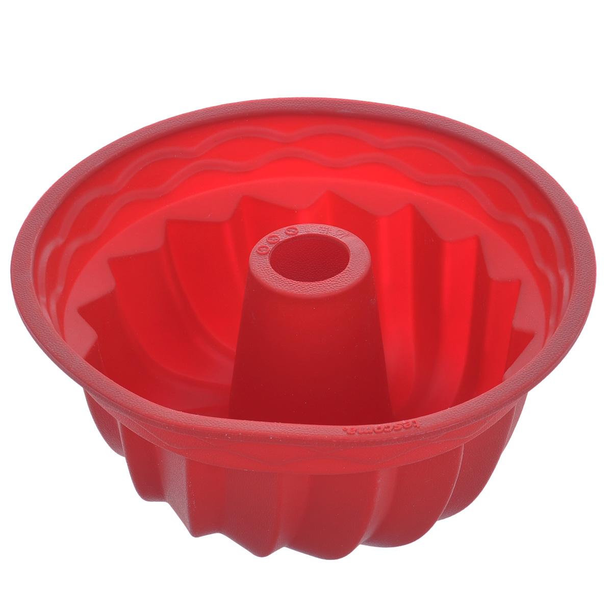Форма для выпечки кекса Tescoma Delicia Silicone, круглая, цвет: красный, диаметр 24 см629224Круглая форма Tescoma Delicia Silicone будет отличным выбором для всех любителей выпечки. Благодаря тому, что форма изготовлена из силикона, готовую выпечку вынимать легко и просто. Стенки формы оснащены рельефной поверхностью. Форма прекрасно подходит для выпечки кексов. С такой формой вы всегда сможете порадовать своих близких оригинальной выпечкой. Материал изделия устойчив к фруктовым кислотам, может быть использован в духовках, микроволновых печах, холодильниках и морозильных камерах (выдерживает температуру от -40°C до 230°C). Антипригарные свойства материала позволяют готовить без использования масла.Можно мыть и сушить в посудомоечной машине. При работе с формой используйте кухонный инструмент из силикона - кисти, лопатки, скребки. Не ставьте форму на электрическую конфорку. Не разрезайте выпечку прямо в форме.