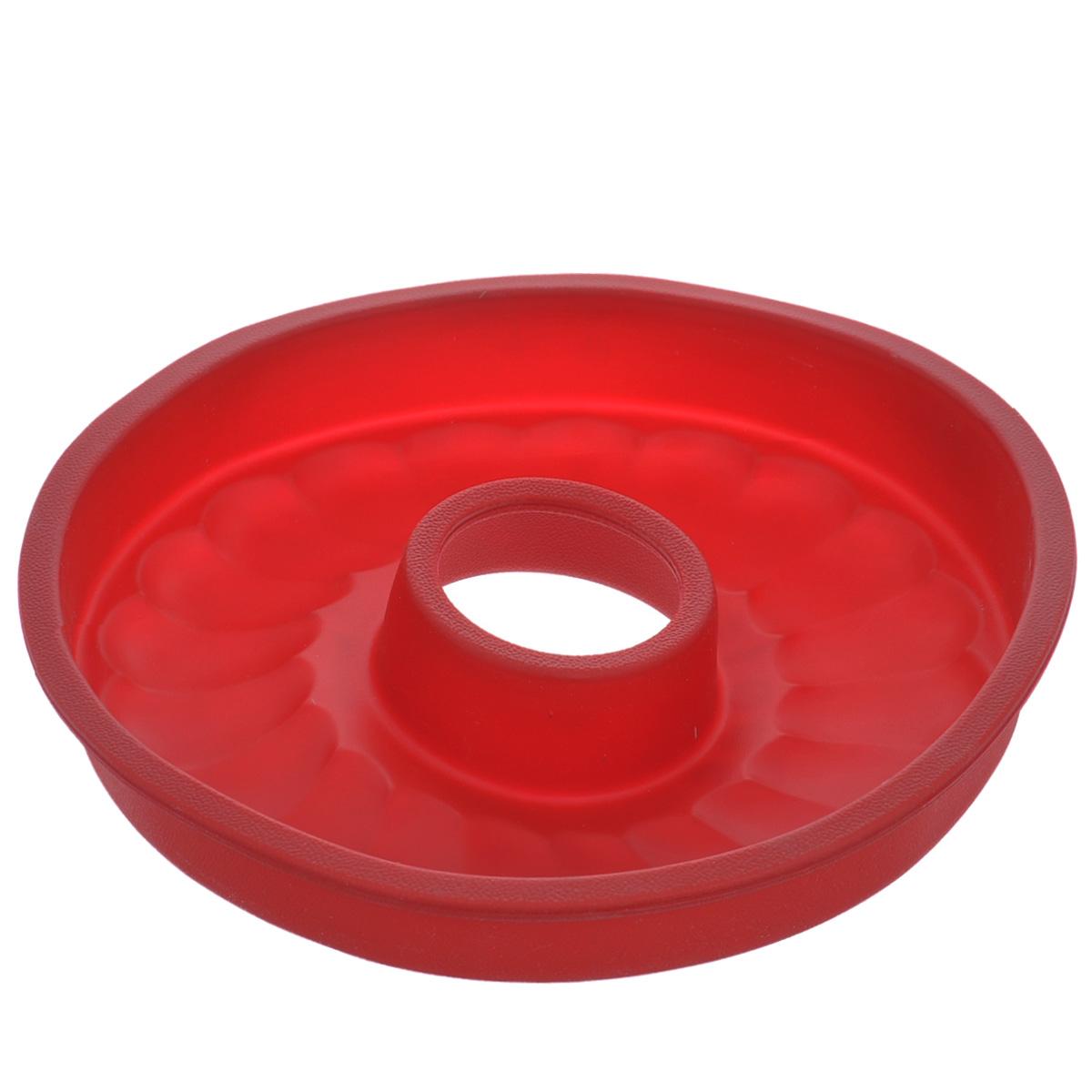 Форма для выпечки кекса Tescoma Delicia Silicone, круглая, цвет: красный, диаметр 26 см. 629228629228Круглая форма Tescoma Delicia Silicone будет отличным выбором для всех любителей выпечки. Благодаря тому, что форма изготовлена из силикона, готовую выпечку вынимать легко и просто. Дно формы оснащено рельефной поверхностью. Форма прекрасно подходит для выпечки кексов.С такой формой вы всегда сможете порадовать своих близких оригинальной выпечкой. Материал изделия устойчив к фруктовым кислотам, может быть использован в духовках, микроволновых печах, холодильниках и морозильных камерах (выдерживает температуру от -40°C до 230°C). Антипригарные свойства материала позволяют готовить без использования масла.Можно мыть и сушить в посудомоечной машине. При работе с формой используйте кухонный инструмент из силикона - кисти, лопатки, скребки. Не ставьте форму на электрическую конфорку. Не разрезайте выпечку прямо в форме.