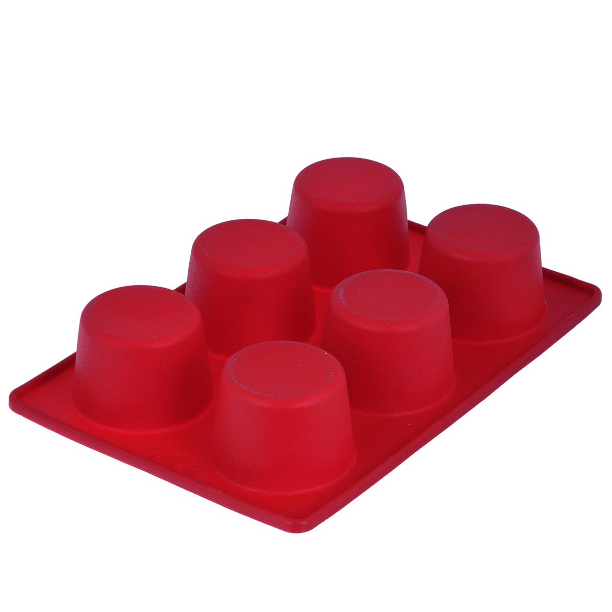 Форма для выпечки маффинов Tescoma Delicia Silicone, цвет: красный, 6 ячеек629332Форма Tescoma Delicia Silicone будет отличным выбором для всех любителей выпечки. Благодаря тому, что форма изготовлена из силикона, готовую выпечку или мармелад вынимать легко и просто. Изделие выполнено в форме прямоугольника, внутри которого расположены 6 круглых ячеек. Форма прекрасно подойдет для выпечки маффинов.С такой формой вы всегда сможете порадовать своих близких оригинальной выпечкой. Материал изделия устойчив к фруктовым кислотам, может быть использован в духовках, микроволновых печах, холодильниках и морозильных камерах (выдерживает температуру от -40°C до 230°C). Антипригарные свойства материала позволяют готовить без использования масла.Можно мыть и сушить в посудомоечной машине. При работе с формой используйте кухонный инструмент из силикона - кисти, лопатки, скребки. Не ставьте форму на электрическую конфорку. Не разрезайте выпечку прямо в форме.