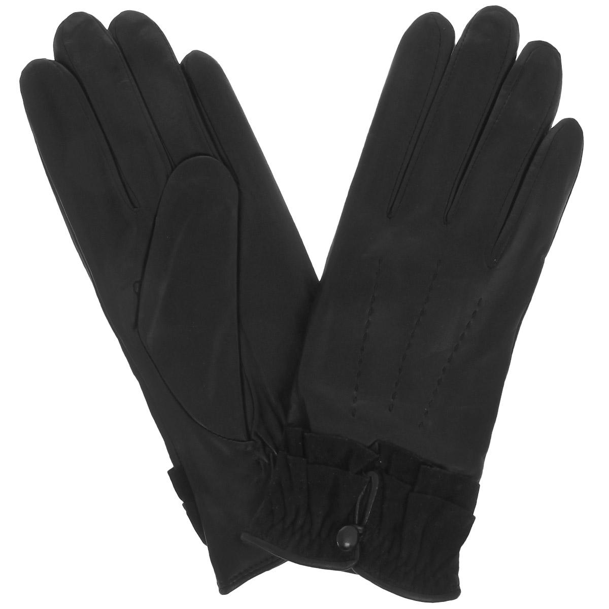 Перчатки женские Dali Exclusive, цвет: черный. 11_DANTE/BL. Размер 7,511_DANTE/BLСтильные женские перчатки Dali Exclusive с подкладкой из 100% шерсти выполнены из мягкой и приятной на ощупь натуральной кожи ягненка.С лицевой стороны перчатки оформлены декоративными стежками. Манжеты, собранные на резинку, украшены замшевой оборкой и имеют небольшой разрез, который фиксируется на пуговку. С тыльной стороны предусмотрена сборка на резинку для наилучшего прилегания к запястью. Такие перчатки подчеркнут ваш стиль и неповторимость и придадут всему образу нотки женственности и элегантности.