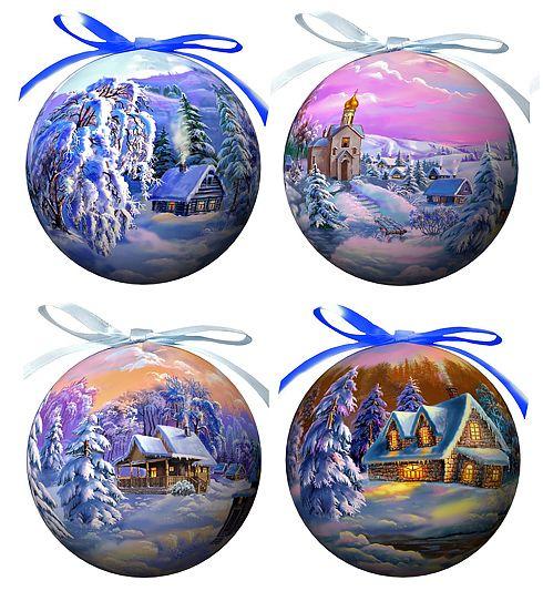 Набор елочных украшений Зимние пейзажи, диаметр 9 см, 4 шт. 2014420144Набор Зимние пейзажи состоит из 4 подвесных украшений в форме шара. Украшения, выполненные из пластмассы, оформлены красочными изображениями зимней природы. Благодаря плотному корпусу изделия никогда не разобьются, поэтому вы можете быть уверены, что они прослужат вам долгие годы. Украшения можно повесить на новогоднюю елку с помощью атласных ленточек фиолетового и голубого цвета.Елочная игрушка - символ Нового года. Она несет в себе волшебство и красоту праздника. Создайте в своем доме атмосферу веселья и радости, украшая новогоднюю елку нарядными игрушками, которые будут из года в год накапливать теплоту воспоминаний.Характеристики:Материал: пластмасса (вспененный полистирол), текстиль. Комплектация: 4 шт. Диаметр шара: 9 см. Размер упаковки: 8,5 см х 8,5 см х 35 см. Производитель: Россия. Изготовитель: Китай. Артикул: 20144.УВАЖАЕМЫЕ КЛИЕНТЫ! Обращаем ваше внимание на то, что данный набор состоит из 4 елочных украшений. Вариант, предложенный на картинке, служит для визуального восприятия товара.