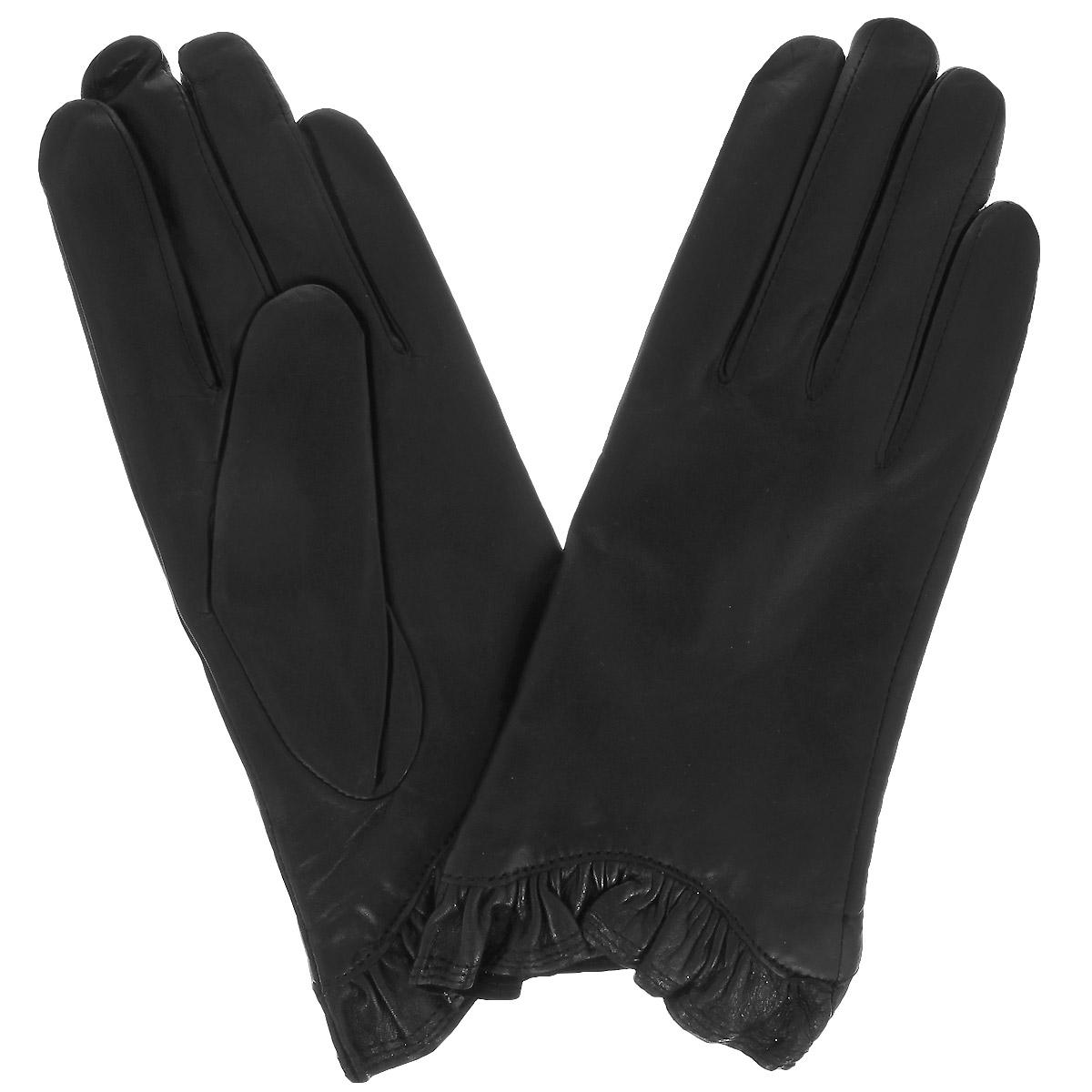 Перчатки женские Dali Exclusive, цвет: черный. 11_MARGE/BL//11. Размер 7,511_MARGE/BL//11Стильные женские перчатки Dali Exclusive с подкладкой из 100% шерсти выполнены из мягкой и приятной на ощупь натуральной кожи ягненка.Манжеты по краю декорированы оборкой. Такие перчатки подчеркнут ваш стиль и неповторимость и придадут всему образу нотки женственности и элегантности.