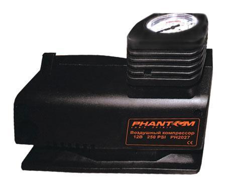 Компрессор воздушный Phantom PH2027, 85 Вт2027Воздушный компрессор Рhantom PН2027 мощностью 85 Вт может использоваться для накачивания различного спортивного оборудования от велосипедных шин до баскетбольных мячей.Особенности:Надежный поршневой двигатель;Ударопрочный корпус;Пониженный уровень шума;Механический манометр;Подключение в гнездо прикуривателя 12 В;Эргономичная конструкция с отсеками для хранения провода и шланга. Характеристики: Размеры: 17 см х 13,5 см х 7,5 см. Мощность: 85 Вт. Материал: пластик, резина, металл. Размер упаковки: 19 см х 15 см х 10,5 см. Изготовитель: Китай. Артикул: PH2027. Характеристики: Размеры: 17 см х 13,5 см х 7,5 см. Мощность: 85 Вт. Материал: пластик, резина, металл. Размер упаковки: 19 см х 15 см х 10,5 см. Изготовитель: Китай. Артикул: PH2027.