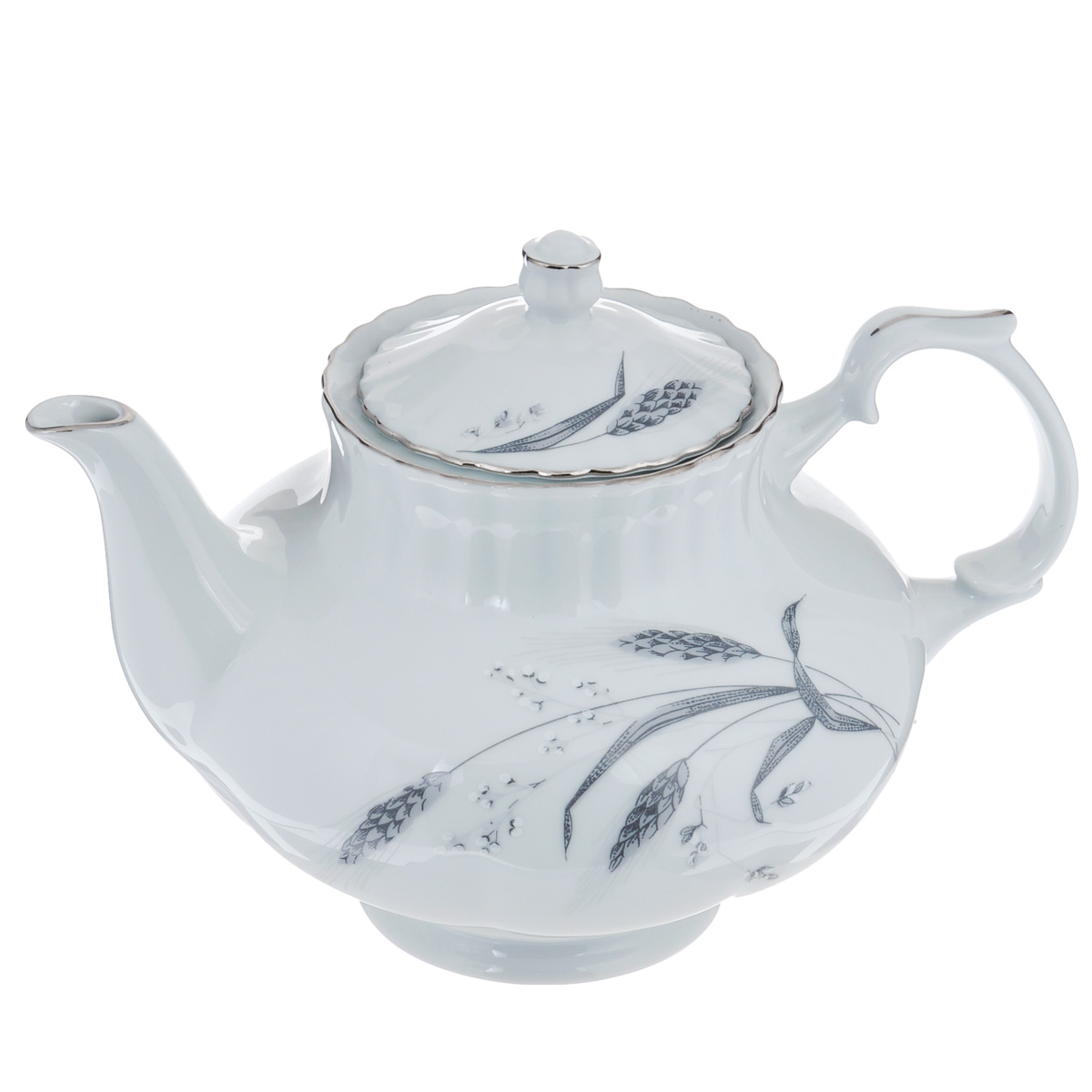 Чайник заварочный Czech Gold Hands Колосок, 1,6 лIW G335 tea pot1.6Чайник заварочный Czech Gold Hands Колосок изготовлен из высококачественного фарфора белого цвета. Изделие украшено изящным изображением колосьев и серебристой эмалью. Изысканный чайник станет настоящим украшением сервировки стола к чаепитию. Не использовать в микроволновой печи и посудомоечной машине.Диаметр (по верхнему краю): 10,5 см. Высота чайника (без учета крышки): 14 см.