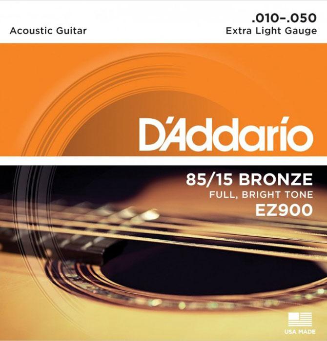 DAddario EZ900 струны для акустической гитарыEZ900Струны DAddario EZ900 для акустической гитары с бронзовым покрытием 85/15 обеспечивают яркий, насыщенный тон звучания.Натяжение: Extra LightРазмеры: 0,010-0,014-0,022-0,030-0,040-0,050