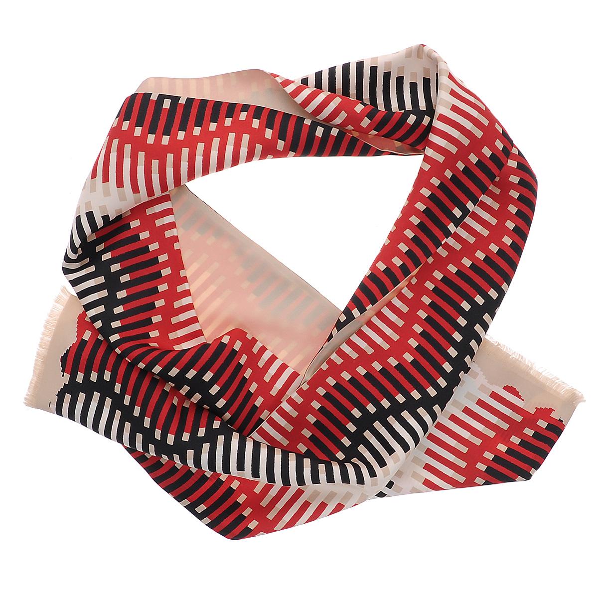 Шарф мужской Moltini, цвет: красный, черный, светло-бежевый. 90003-10C. Размер 25 см х 168 см90003-10CЯркий мужской шарф Moltini станет изысканным аксессуаром, который призван подчеркнуть ваш стиль и индивидуальность. Он выполнен из 100% шелка и оформлен оригинальным принтом с цветными полосками. Края модели декорированы тонкой бахромой.