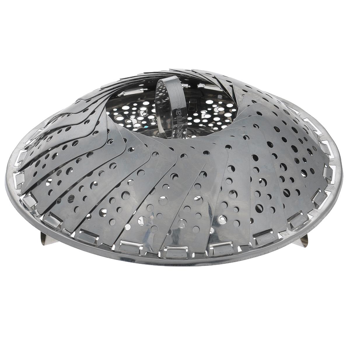 Пароварка Tescoma Presto, 18-28 см644808Пароварка Tescoma Presto предназначена для приготовления пищи на пару. Изделие выполненоиз высококачественной нержавеющей стали. Пароварка устанавливается сверху на посуду.Подходит для посуды с различным диаметром. Складная, в сложенном виде занимает минимумпространства.Можно мыть в посудомоечной машине.
