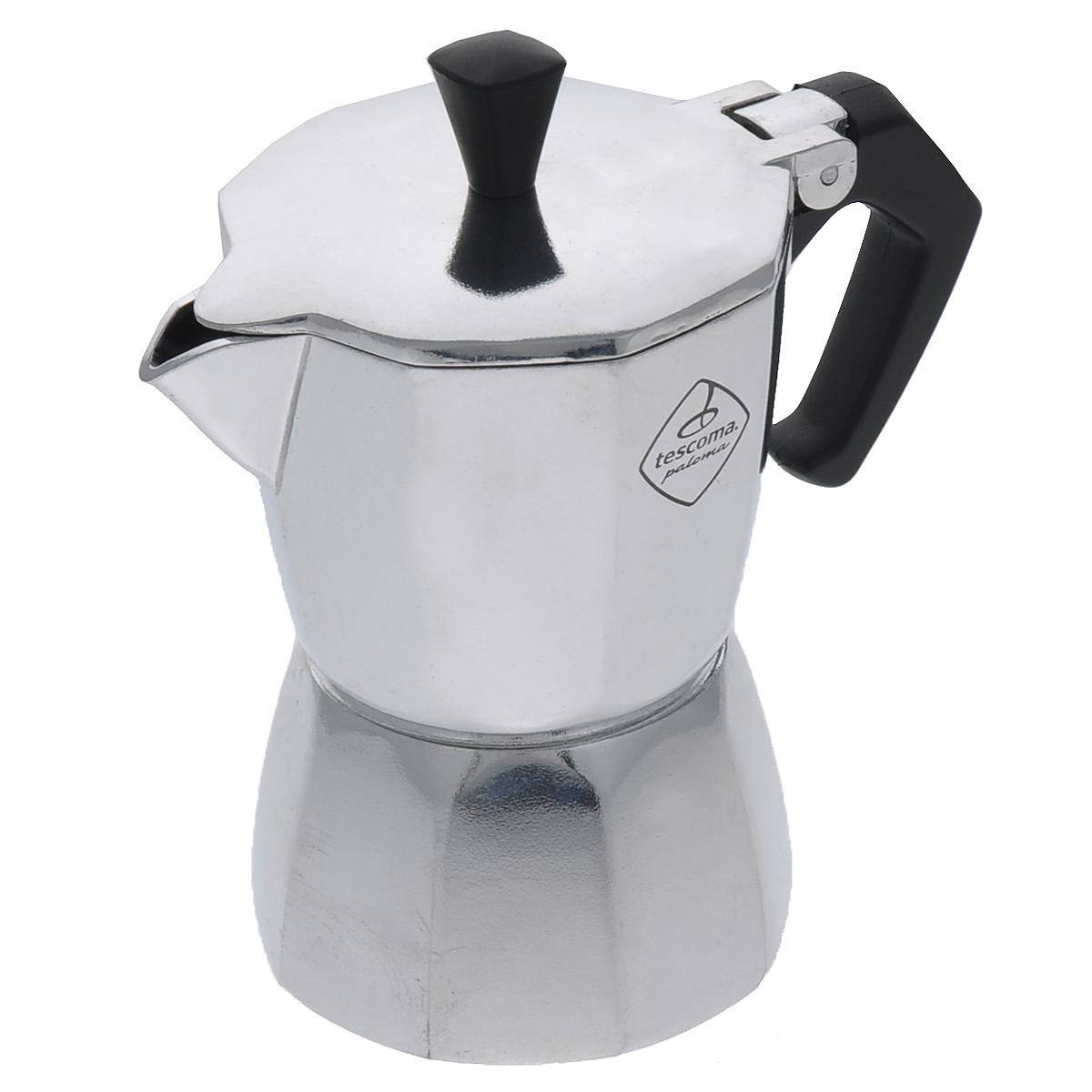 Кофеварка Tescoma Paloma, на 1 чашку647001Кофеварка Tescoma Paloma идеально подходит для приготовления традиционного кофе экспрессо. Кофеварка изготовлена из гигиенически безопасного алюминия (EN 601). Эргономичная рукоятка выполнена из жароупорной пластмассы, поэтому не обжигает руки. Кофеварка очень проста в использовании: - наполните основание водой, - насыпьте туда кофе, - закройте, - поставьте на плиту, - сварите кофе, - подавайте на стол. Объем рассчитан на приготовление одной чашки кофе. Стильный дизайн кофеварки Tescoma сделает ее ярким элементом интерьера вашего дома! Можно использовать на газовых, электрических, керамических плитах. Нельзя мыть в посудомоечной машине.