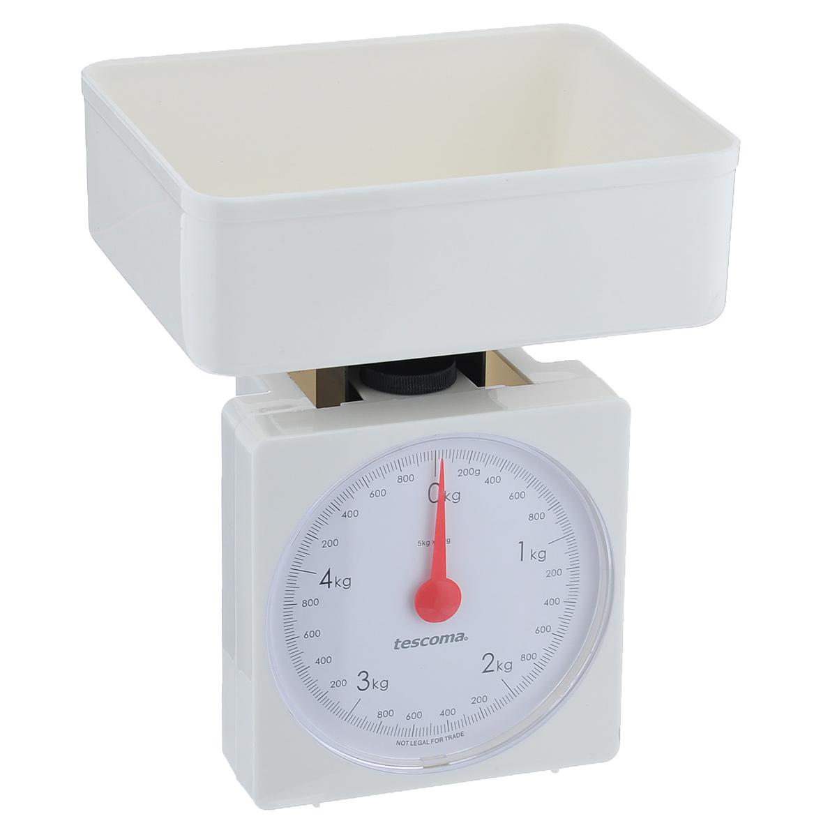 Весы кухонные механические Tescoma Accura, цвет: белый, до 5 кг634524Механические кухонные весы Tescoma Accura, выполненные из высокопрочного пластика и стали, с большой, хорошо читаемой шкалой и съемной чашей, придутся по душе каждой хозяйке и станут незаменимым аксессуаром на кухне. На шкале присутствуют единицы измерения в граммах и килограммах. В комплекте - пластиковая чаша.Вам больше не придется использовать продукты на глаз. Весы Tescoma Accura позволят вам с высокой точностью дозировать продукты, следуя вашим любимым рецептам.Размер весов (без чаши): 13 см х 8 см х 17 см. Размер чаши: 18,5 см х 15 см х 7 см.