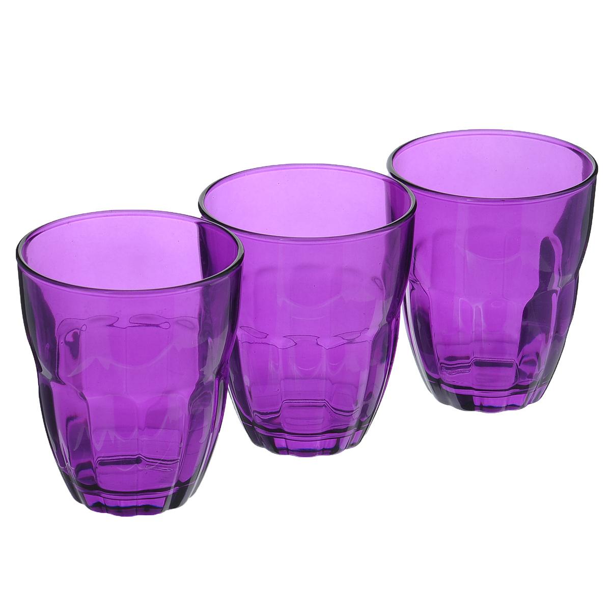 Набор стаканов Bormioli Rocco Ercole, цвет: фиолетовый, 230 мл, 3 штB387140VНабор Bormioli Rocco Ercole, выполненный из стекла, состоит из 3 стаканов. Стаканы предназначены для подачи холодных напитков. С внешней стороны нижняя часть стаканов рельефная, что создает эффект игры света и преломления. Благодаря такому набору пить напитки будет еще вкуснее.Стаканы Bormioli Rocco станут идеальным украшением праздничного стола и отличным подарком к любому празднику.