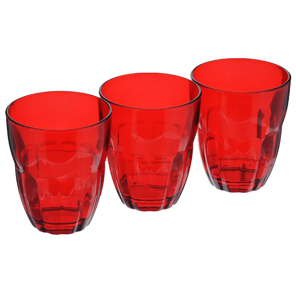 Набор стаканов Bormioli Rocco Ercole, цвет: красный, 230 мл, 3 шт набор стаканов bormioli rocco diamond rock purple 470 мл 3 шт