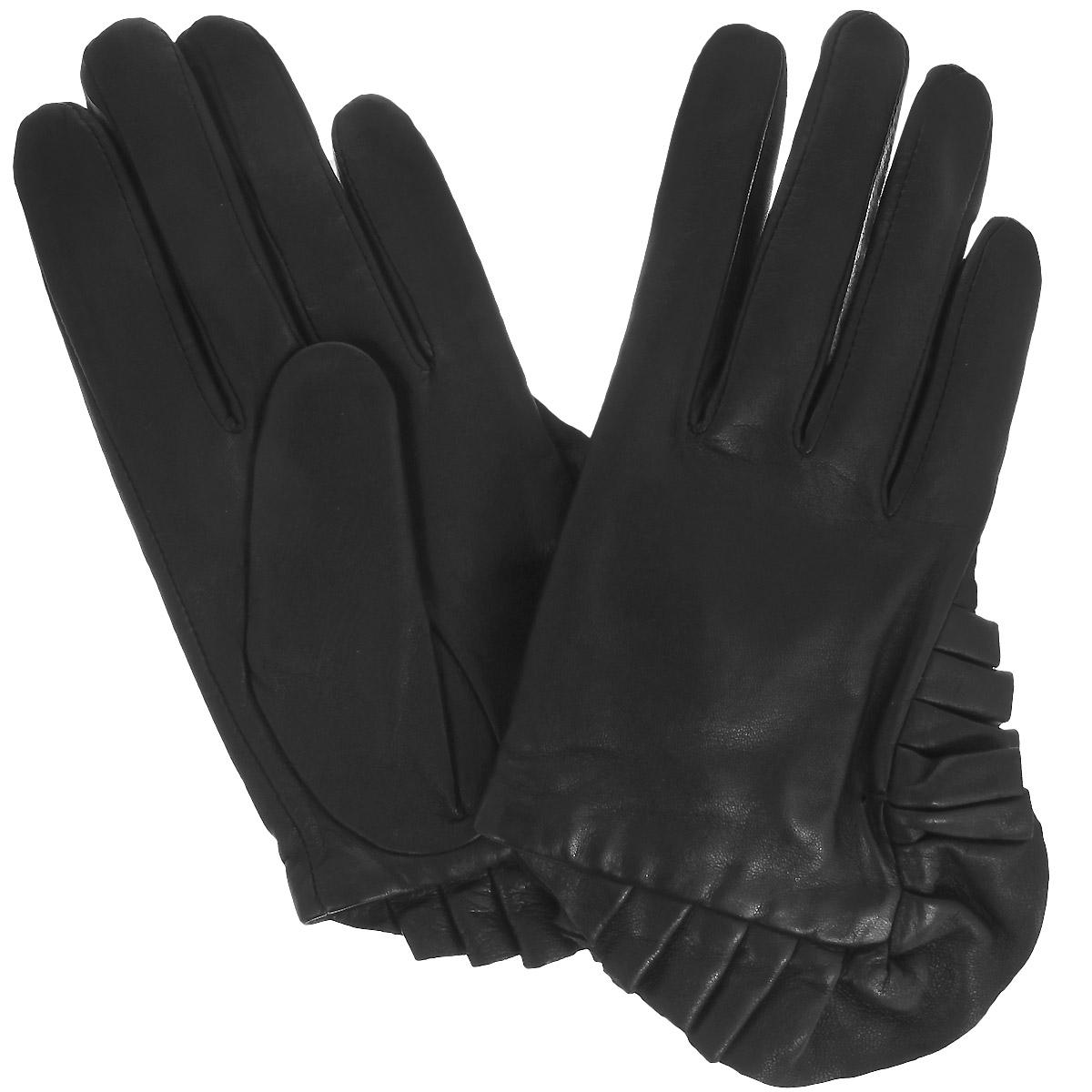 Перчатки женские Dali Exclusive, цвет: черный. 11_PAVIO/BL. Размер 811_PAVIO/BLСтильные женские перчатки Dali Exclusive с подкладкой из 100% шерсти выполнены из мягкой и приятной на ощупь натуральной кожи ягненка.Манжеты оформлены декоративной оборкой.Такие перчатки подчеркнут ваш стиль и неповторимость и придадут всему образу нотки женственности и элегантности.