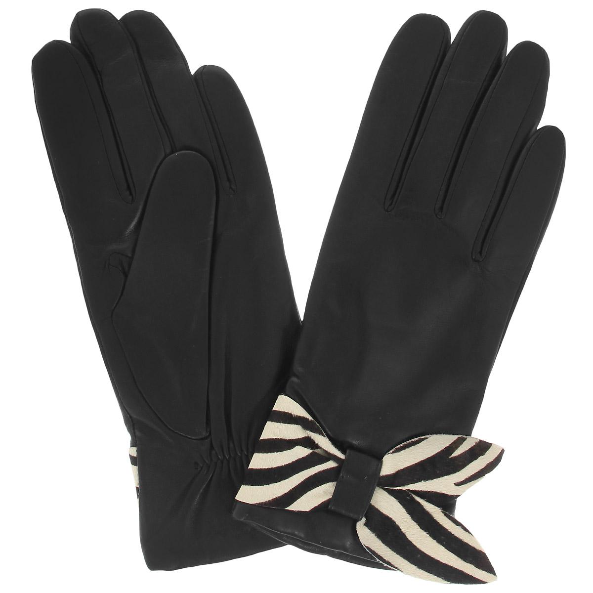 Перчатки женские Dali Exclusive, цвет: черный. 11_ZIELE/BL//11. Размер 8 перчатки женские eleganzza цвет черный is0424 размер 8