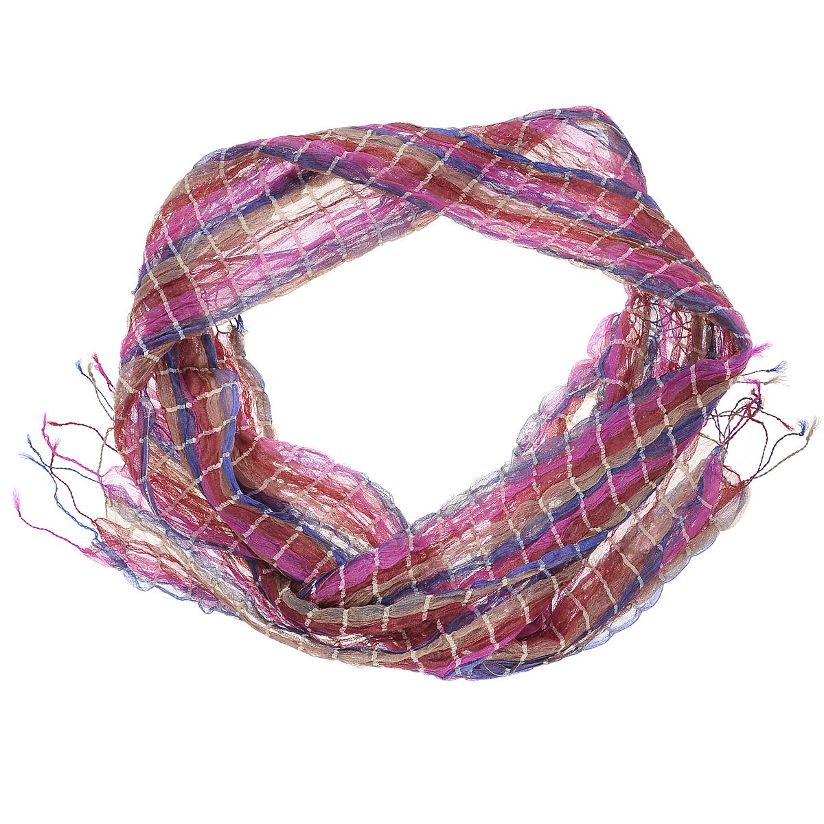 Шарф женский Ethnica, цвет: красный, розовый, синий, бежевый. Размер 25 см х 170 см edu play