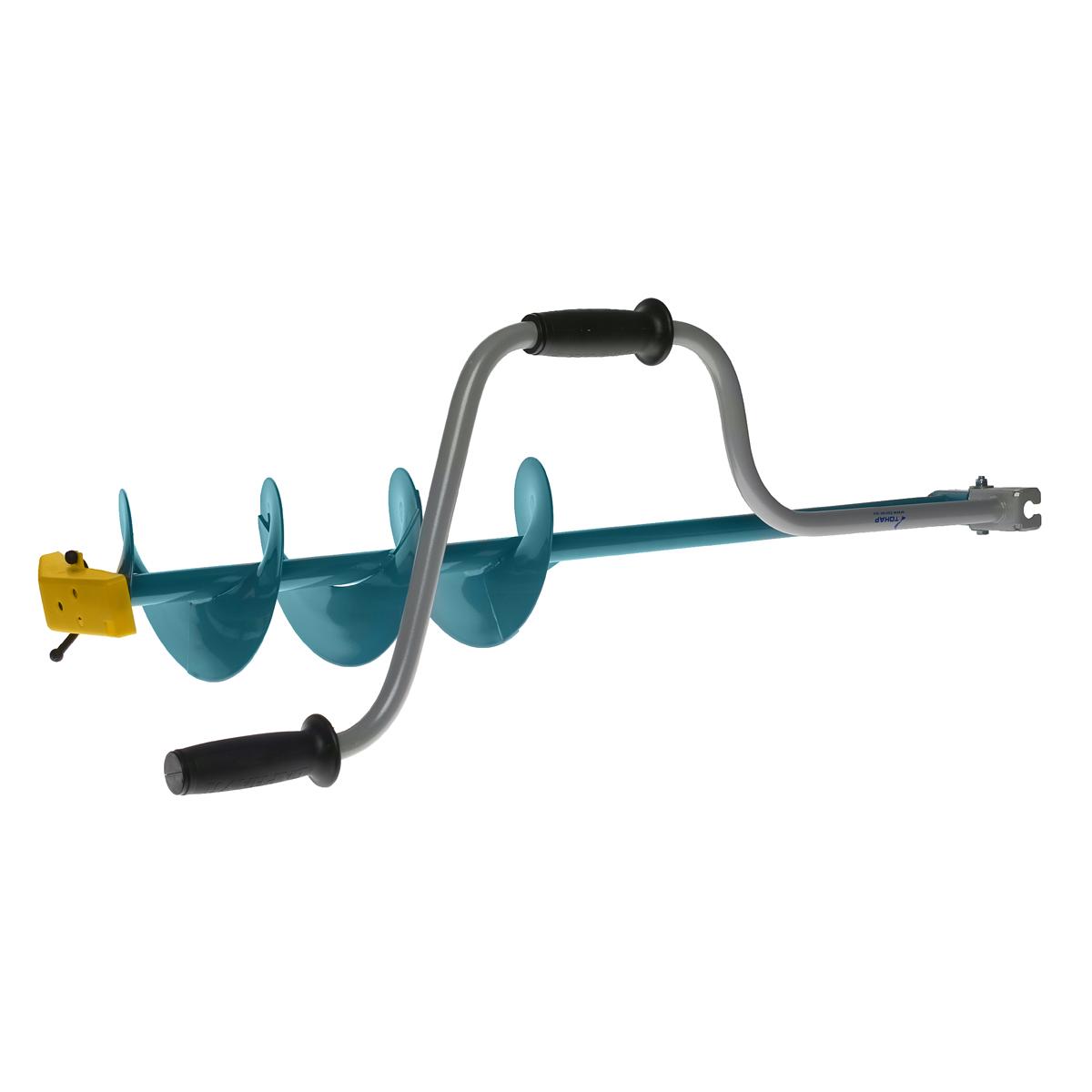 Ледобур Тонар ЛР-100Д, двуручный, диаметр 100 мм13-11-055Основное и единственное отличие двуручных ледобуров от классических - верхняя рукоятка ледобура смещена относительно оси ледобура на 130 мм, а нижняя на 100 мм. Такое расположение рукояток позволяет вращать ледобур одновременно двумя руками, тем самым, увеличивая скорость бурения лунок во льду. Кроме того, существенно уменьшаются габариты ледобура в транспортном положении. По всем остальным характеристикам двуручные ледобуры полностью соответствуют классическим.