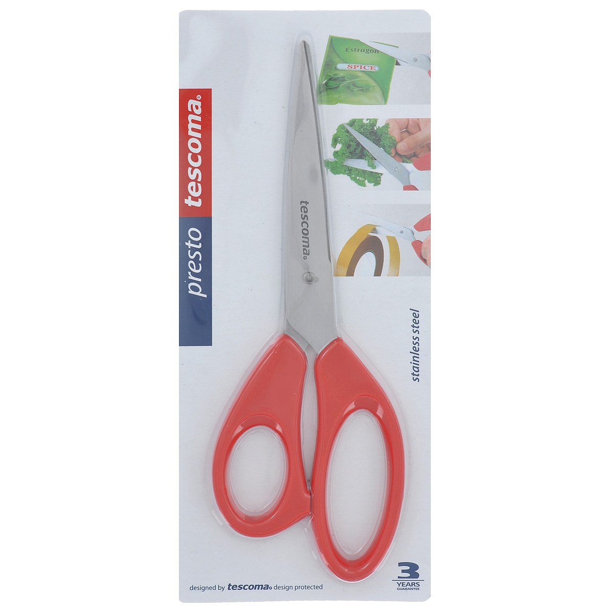 Ножницы Tescoma Presto, универсальные, цвет: красный, 22 см888214Ножницы Tescoma Presto, легкие и удобные в использовании, изготовлены из первоклассной нержавеющей стали. Ручки сделаны из прочной пластмассы. Универсальные ножницы пригодны для резки всех обычных материалов - бумаги, ткани и др.