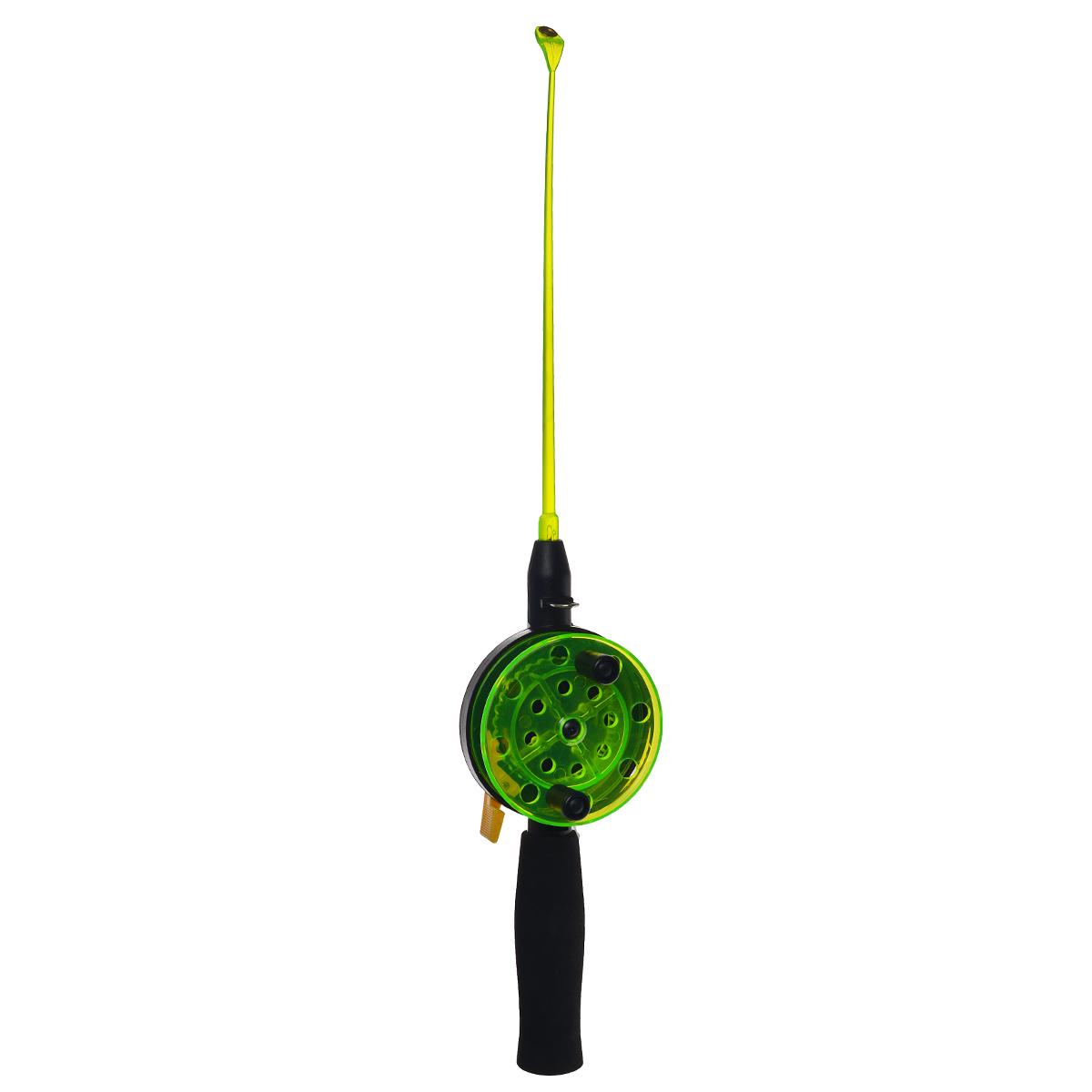 Удочка зимняя SWD HR201, цвет: черный, зеленый, 40 см. BJX010528384Зимняя удочка SWD HR201 с открытой катушкой диаметром 76 мм и клавишным стопором. Оснащена пластиковым хлыстом длиной 20 см с тюльпаном на конце. Ручка длиной 100 мм выполнена из неопрена.