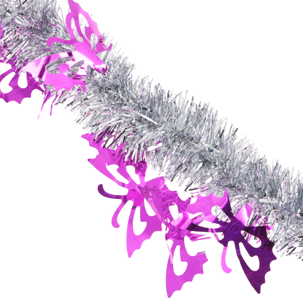 """Мишура новогодняя """"Sima-land"""", цвет: серебристый, фиолетовый, диаметр 5 см, длина 200 см"""
